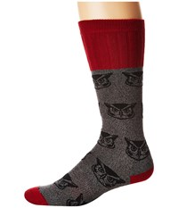 Socksmith Owl Charcoal Crew Cut Socks Shoes Gray