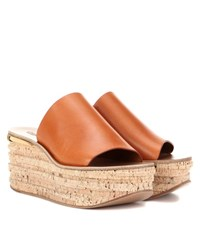 Chloe Leather And Cork Wedges Brown