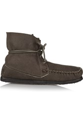Etoile Isabel Marant Eve Shearling Lined Nubuck Moccasin Boots Green
