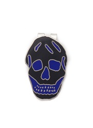 Alexander Mcqueen Enamel Engraved Skull Money Clip Blue