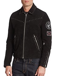 The Kooples Studded Suede Biker Jacket Black