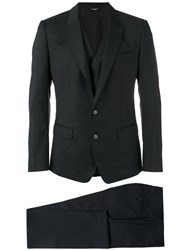 Dolce And Gabbana Three Piece Checked Suit Black