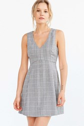 Cooperative Houndstooth Empire Waist Mini Dress Neutral Multi