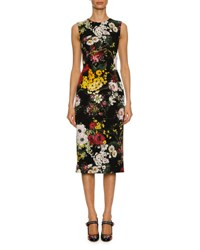 Dolce And Gabbana Sleeveless Bouquet Print Charmeuse Cocktail Dress Black Pattern