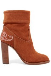 Etro Embroidered Suede Ankle Boots Brown