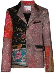 By Walid Patchwork Silk Embroidered Blazer 60