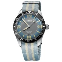 Oris 733 7707 4065 07 5 20 28Fc Men's Divers Sixty Five Automatic Date Fabric Strap Watch Light Blue Grey