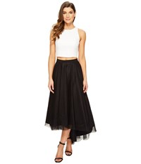 Aidan Mattox Ivory Sequin Halter Top With High Low Black Mesh Skirt Ivory Black Women's Dress Multi