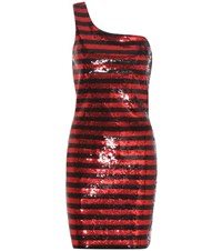 Saint Laurent Sequinned One Shoulder Dress Red