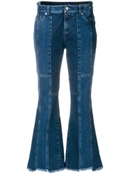 Alexander Mcqueen Asymmetric Flared Cropped Jeans Blue