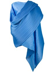Issey Miyake Pleats Please By Oversized Scarf Women Polyester One Size Blue