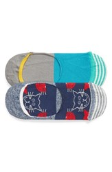 Happy Socks Cats Assorted 2 Pack No Show Blue