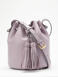 And Or Isabella Leather Whipstitch Drawstring Bucket Bag Purple