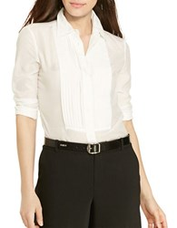 Lauren Ralph Lauren Petite Pintucked Cotton Silk Shirt White