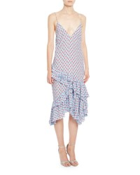 Altuzarra Corona Ruffled Silk Slip Dress Blue