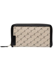 Stella Mccartney Beige Logo Print Zip Wallet Neutrals