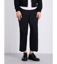 Wooyoungmi Wide Cropped Wool Trousers Black