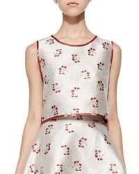 Erin Fetherston Candy Floral Reversible Cropped Top Champagne Ruby
