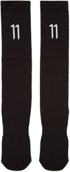 11 By Boris Bidjan Saberi Black Long Logo Socks