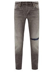 Neuw Lou Distressed Slim Leg Jeans Dark Grey