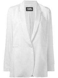 Karl Lagerfeld Notched Lapel Blazer Women Silk Polyester 40 White