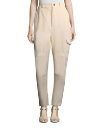 See By Chloe Vertical Stripe Four Pocket Cargo Pants White Black