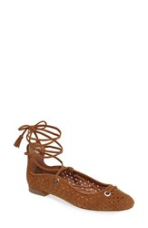 Halogenr Women's Halogen Nella Ghillie Flat Cognac Perf Leather