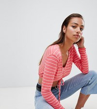 Boohoo Striped Crop Top Red