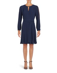 Vince Camuto Long Sleeve Pleated A Line Dress Navy