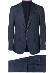 Isaia Checkered Suit Blue