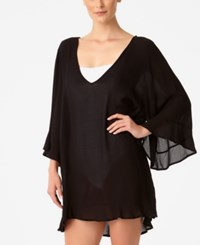 Anne Cole Sheer Ruffled Tunic Cover Up Women's Swimsuit Black