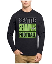47 Brand '47 Men's Seattle Seahawks Compton Club Long Sleeve T Shirt Heather Navy Lime