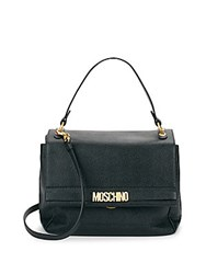 Moschino Textured Leather Flap Satchel Black