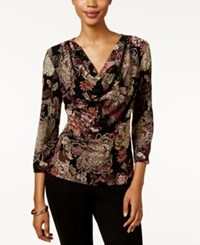 Msk Floral Print Cowl Neck Top Rust Purple