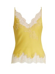 Carine Gilson Lace Trimmed Silk Satin Cami Top Yellow