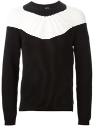 N.21 Contrasting Stripe Ribbed Sweater Black
