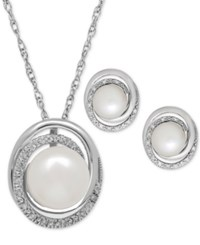 Macy's Cultured Freshwater Pearl 7 And 8Mm And Diamond Accent Pendant Necklace And Earrings Set In Sterling Silver