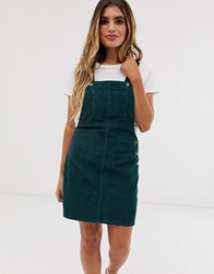 Brave Soul Alexa Dungaree Dress In Cord Green