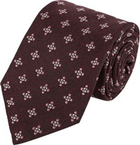 Isaia Floral Medallion Neck Tie Red