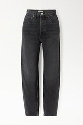 Re Done Pixie Levinson Distressed High Rise Tapered Jeans Black