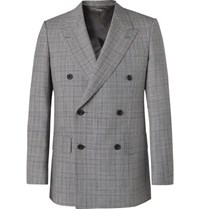 Kingsman Grey Slim Fit Unstructured Double Breasted Houndstooth Wool Suit Jacket Gray