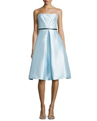 Monique Lhuillier Strapless Belted Tea Length Cocktail Dress