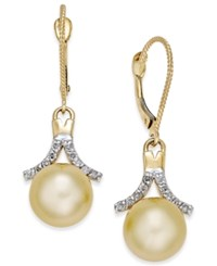 Macy's Cultured Golden South Sea Pearl 9Mm And Diamond 1 5 Ct. T.W. Drop Earrings In 14K Gold Yellow