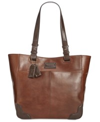 Tignanello Western Vintage Leather Tote Rust Dark Brown