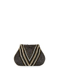 G Lish Beaded Convertible Clutch Silver