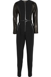 Michael Kors Leather Paneled Wool Blend Jumpsuit Black