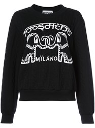 Moschino Elephant Cable Knit Sweater Women Cotton Polyester S Black