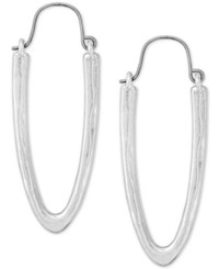 Lucky Brand Silver Tone U Shape Hoop Earrings