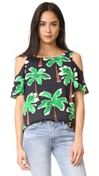 Cooper And Ella Christine Cold Shoulder Top Green Palm Tree