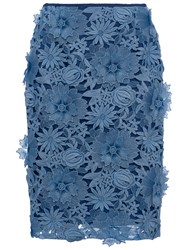 French Connection Manzoni Lace Pencil Skirt Meru Blue